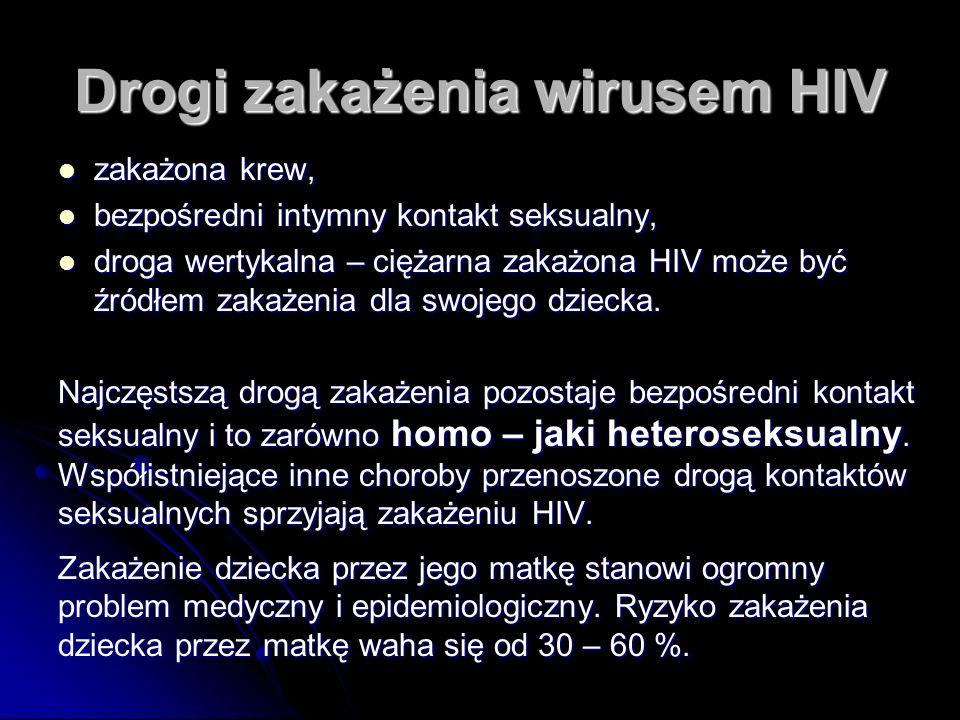 Drogi zakażenia wirusem HIV zakażona krew, zakażona krew, bezpośredni intymny kontakt seksualny, bezpośredni intymny kontakt seksualny, droga wertykalna – ciężarna zakażona HIV może być źródłem zakażenia dla swojego dziecka.