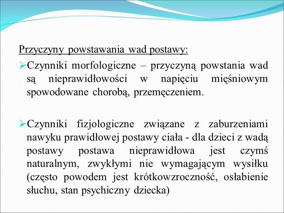 Przyczyny powstawania wad postawy:  Czynniki morfologiczne – przyczyną powstania wad są nieprawidłowości w napięciu mięśniowym spowodowane chorobą, p