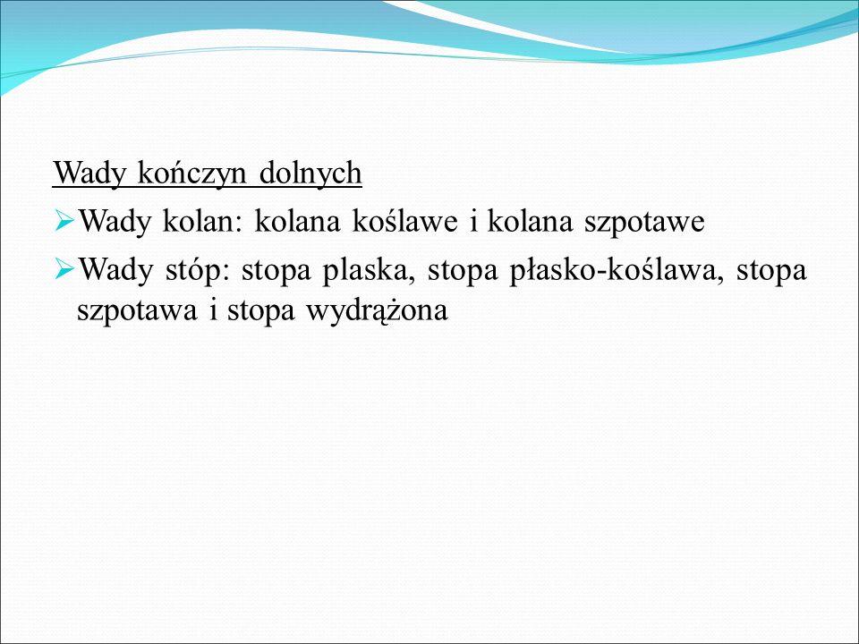 Wady kończyn dolnych  Wady kolan: kolana koślawe i kolana szpotawe  Wady stóp: stopa plaska, stopa płasko-koślawa, stopa szpotawa i stopa wydrążona