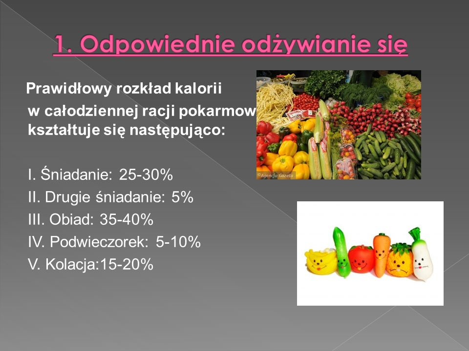 Prawidłowy rozkład kalorii w całodziennej racji pokarmowej kształtuje się następująco: I.