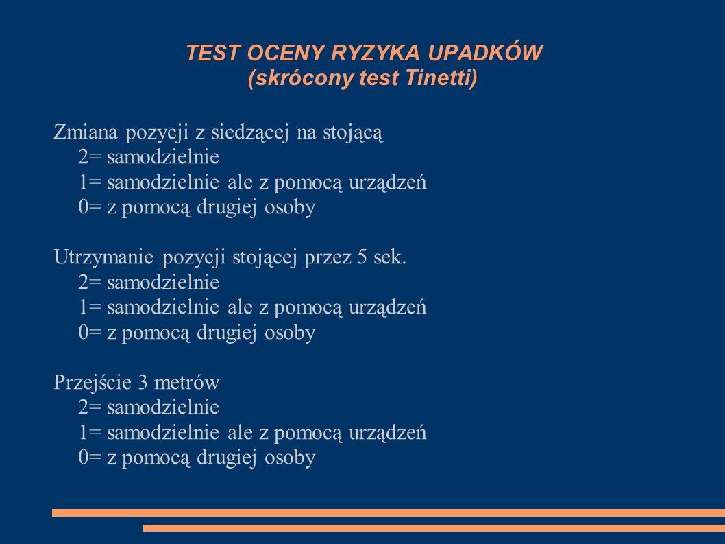 TEST OCENY RYZYKA UPADKÓW (skrócony test Tinetti) Zmiana pozycji z siedzącej na stojącą 2= samodzielnie 1= samodzielnie ale z pomocą urządzeń 0= z pom