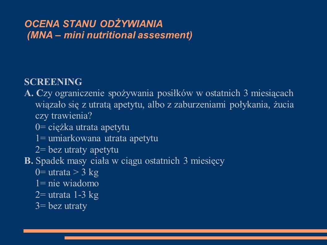 OCENA STANU ODŻYWIANIA (MNA – mini nutritional assesment) SCREENING A. Czy ograniczenie spożywania posiłków w ostatnich 3 miesiącach wiązało się z utr