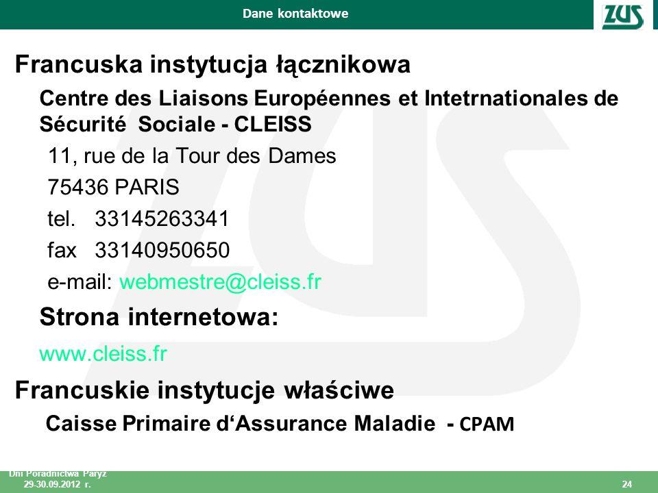 Dni Poradnictwa Paryż 29-30.09.2012 r. 24 Dni Poradnictwa Paryż 29-30.09.2012 r.