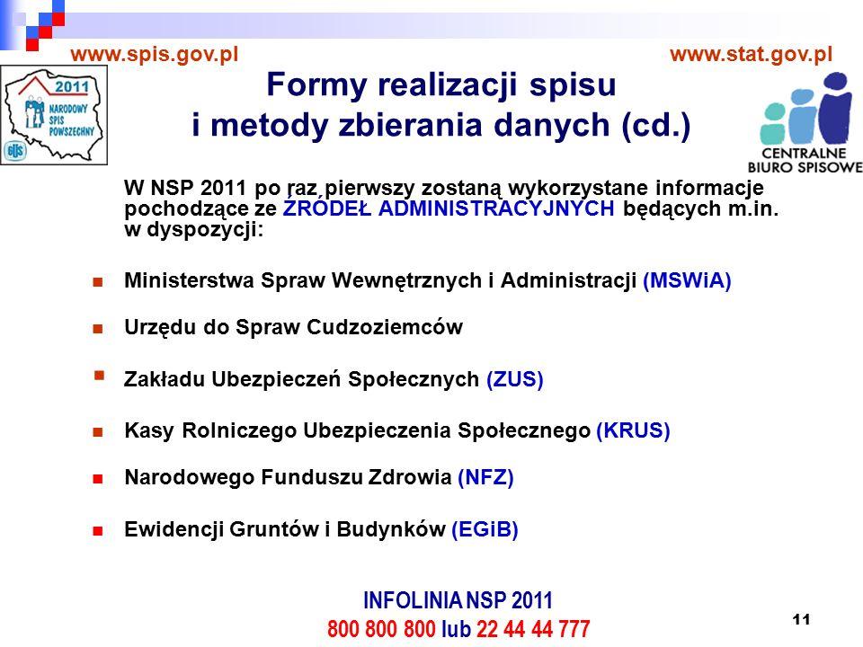 11 W NSP 2011 po raz pierwszy zostaną wykorzystane informacje pochodzące ze ŹRÓDEŁ ADMINISTRACYJNYCH będących m.in.