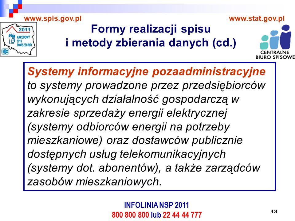 13 www.spis.gov.plwww.stat.gov.pl Systemy informacyjne pozaadministracyjne to systemy prowadzone przez przedsiębiorców wykonujących działalność gospodarczą w zakresie sprzedaży energii elektrycznej (systemy odbiorców energii na potrzeby mieszkaniowe) oraz dostawców publicznie dostępnych usług telekomunikacyjnych (systemy dot.