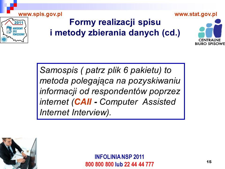 15 www.spis.gov.plwww.stat.gov.pl Samospis ( patrz plik 6 pakietu) to metoda polegająca na pozyskiwaniu informacji od respondentów poprzez internet (CAII - Computer Assisted Internet Interview).