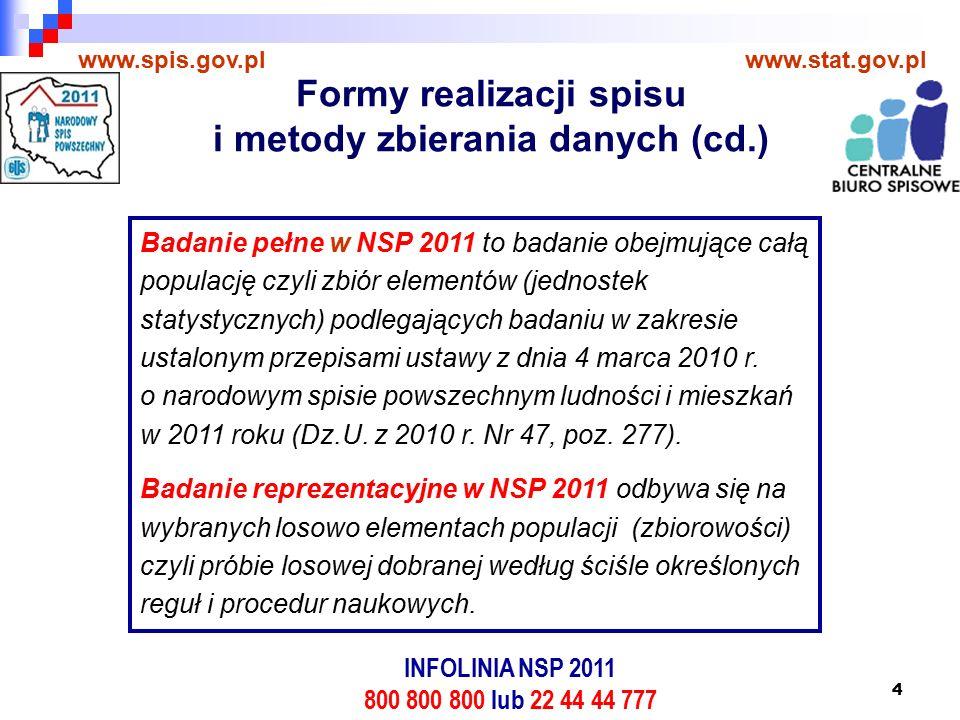 4 www.spis.gov.plwww.stat.gov.pl Badanie pełne w NSP 2011 to badanie obejmujące całą populację czyli zbiór elementów (jednostek statystycznych) podlegających badaniu w zakresie ustalonym przepisami ustawy z dnia 4 marca 2010 r.