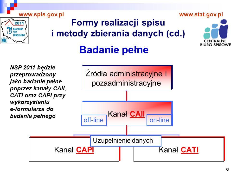 6 www.spis.gov.plwww.stat.gov.pl Badanie pełne on-line off-line Uzupełnienie danych NSP 2011 będzie przeprowadzony jako badanie pełne poprzez kanały CAII, CATI oraz CAPI przy wykorzystaniu e-formularza do badania pełnego Formy realizacji spisu i metody zbierania danych (cd.)