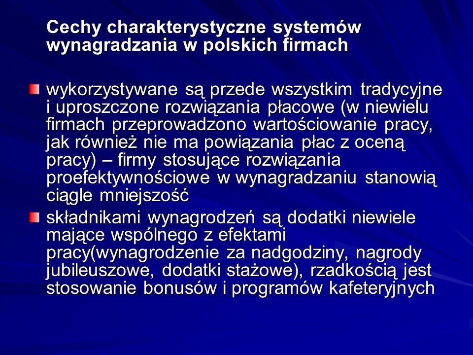 Cechy charakterystyczne systemów wynagradzania w polskich firmach wykorzystywane są przede wszystkim tradycyjne i uproszczone rozwiązania płacowe (w niewielu firmach przeprowadzono wartościowanie pracy, jak również nie ma powiązania płac z oceną pracy) – firmy stosujące rozwiązania proefektywnościowe w wynagradzaniu stanowią ciągle mniejszość składnikami wynagrodzeń są dodatki niewiele mające wspólnego z efektami pracy(wynagrodzenie za nadgodziny, nagrody jubileuszowe, dodatki stażowe), rzadkością jest stosowanie bonusów i programów kafeteryjnych