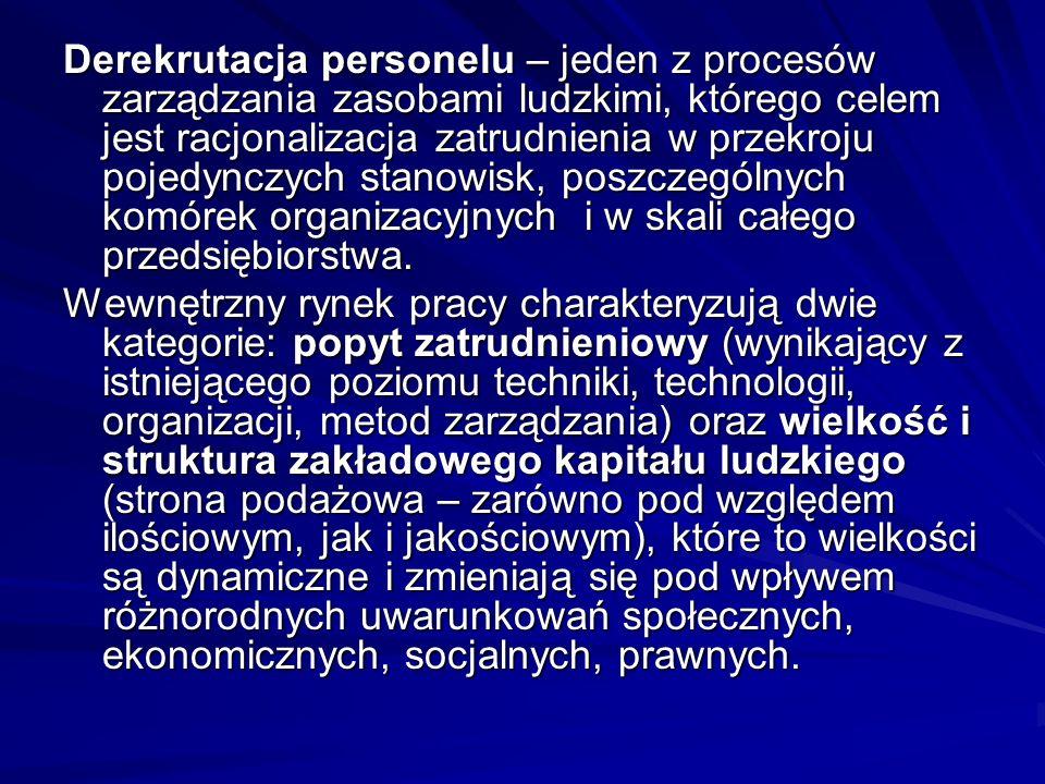 Derekrutacja personelu – jeden z procesów zarządzania zasobami ludzkimi, którego celem jest racjonalizacja zatrudnienia w przekroju pojedynczych stano