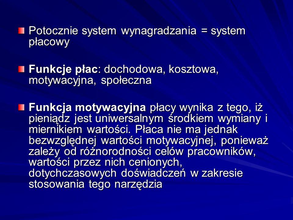 Potocznie system wynagradzania = system płacowy Funkcje płac: dochodowa, kosztowa, motywacyjna, społeczna Funkcja motywacyjna płacy wynika z tego, iż pieniądz jest uniwersalnym środkiem wymiany i miernikiem wartości.