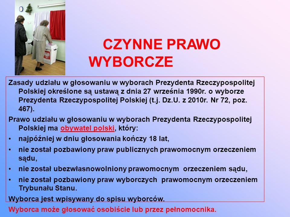 CZYNNE PRAWO WYBORCZE Zasady udziału w głosowaniu w wyborach Prezydenta Rzeczypospolitej Polskiej określone są ustawą z dnia 27 września 1990r.