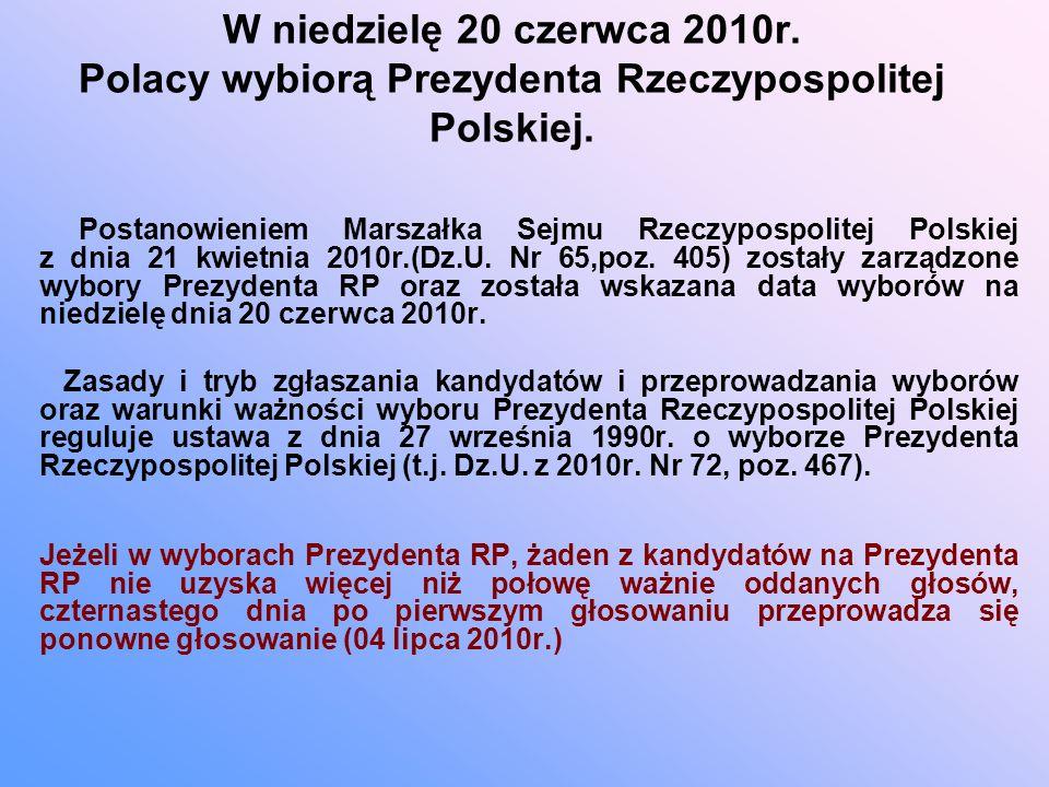 W niedzielę 20 czerwca 2010r. Polacy wybiorą Prezydenta Rzeczypospolitej Polskiej.