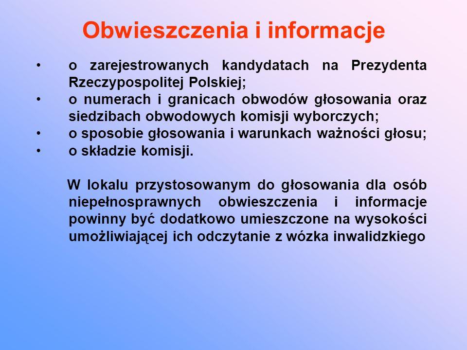 Obwieszczenia i informacje o zarejestrowanych kandydatach na Prezydenta Rzeczypospolitej Polskiej; o numerach i granicach obwodów głosowania oraz siedzibach obwodowych komisji wyborczych; o sposobie głosowania i warunkach ważności głosu; o składzie komisji.