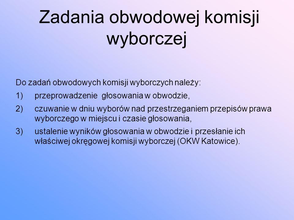 Zadania obwodowej komisji wyborczej Do zadań obwodowych komisji wyborczych należy: 1)przeprowadzenie głosowania w obwodzie, 2)czuwanie w dniu wyborów nad przestrzeganiem przepisów prawa wyborczego w miejscu i czasie głosowania, 3)ustalenie wyników głosowania w obwodzie i przesłanie ich właściwej okręgowej komisji wyborczej (OKW Katowice).