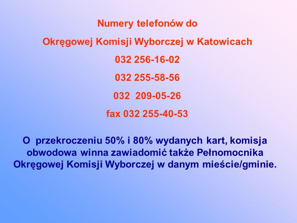 Numery telefonów do Okręgowej Komisji Wyborczej w Katowicach 032 256-16-02 032 255-58-56 032 209-05-26 fax 032 255-40-53 O przekroczeniu 50% i 80% wydanych kart, komisja obwodowa winna zawiadomić także Pełnomocnika Okręgowej Komisji Wyborczej w danym mieście/gminie.