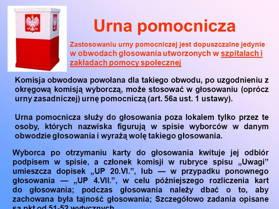 Urna pomocnicza Komisja obwodowa powołana dla takiego obwodu, po uzgodnieniu z okręgową komisją wyborczą, może stosować w głosowaniu (oprócz urny zasadniczej) urnę pomocniczą (art.