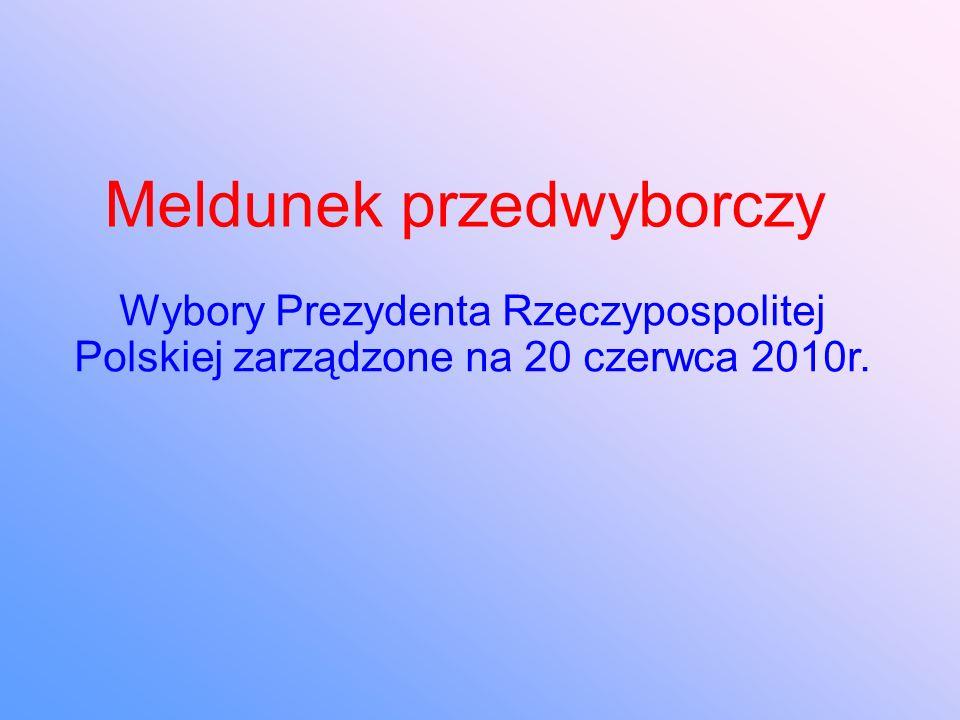 Meldunek przedwyborczy Wybory Prezydenta Rzeczypospolitej Polskiej zarządzone na 20 czerwca 2010r.