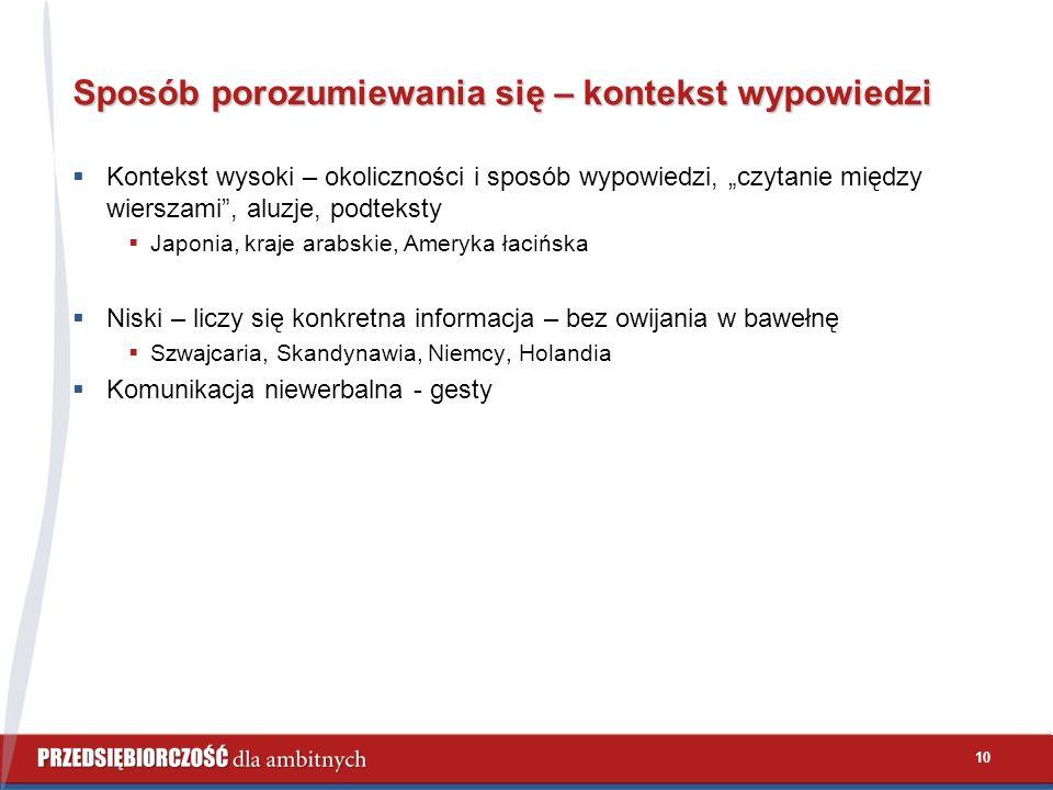 """10 Sposób porozumiewania się – kontekst wypowiedzi  Kontekst wysoki – okoliczności i sposób wypowiedzi, """"czytanie między wierszami , aluzje, podteksty  Japonia, kraje arabskie, Ameryka łacińska  Niski – liczy się konkretna informacja – bez owijania w bawełnę  Szwajcaria, Skandynawia, Niemcy, Holandia  Komunikacja niewerbalna - gesty"""