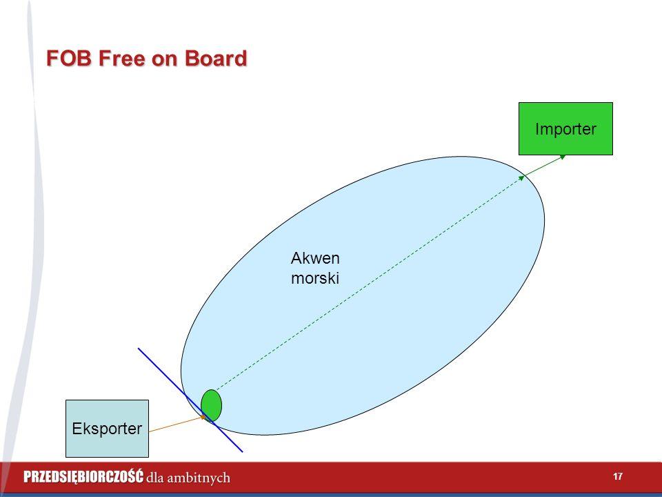 17 FOB Free on Board Eksporter Importer Akwen morski