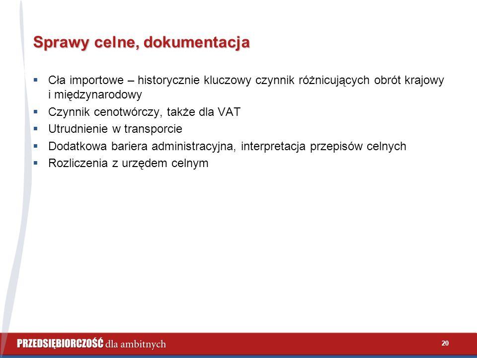 20 Sprawy celne, dokumentacja  Cła importowe – historycznie kluczowy czynnik różnicujących obrót krajowy i międzynarodowy  Czynnik cenotwórczy, także dla VAT  Utrudnienie w transporcie  Dodatkowa bariera administracyjna, interpretacja przepisów celnych  Rozliczenia z urzędem celnym
