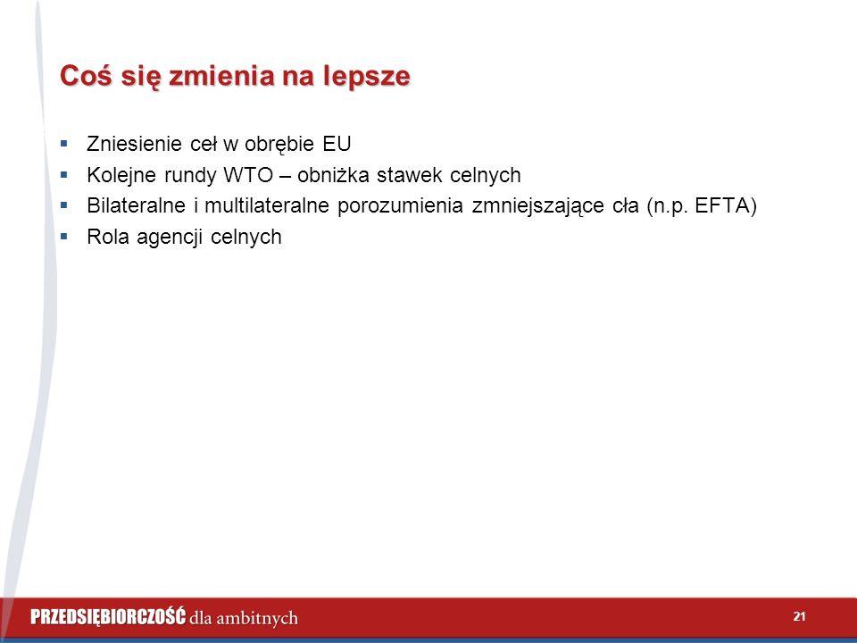 21 Coś się zmienia na lepsze  Zniesienie ceł w obrębie EU  Kolejne rundy WTO – obniżka stawek celnych  Bilateralne i multilateralne porozumienia zmniejszające cła (n.p.