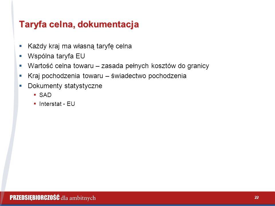 22 Taryfa celna, dokumentacja  Każdy kraj ma własną taryfę celna  Wspólna taryfa EU  Wartość celna towaru – zasada pełnych kosztów do granicy  Kraj pochodzenia towaru – świadectwo pochodzenia  Dokumenty statystyczne  SAD  Interstat - EU