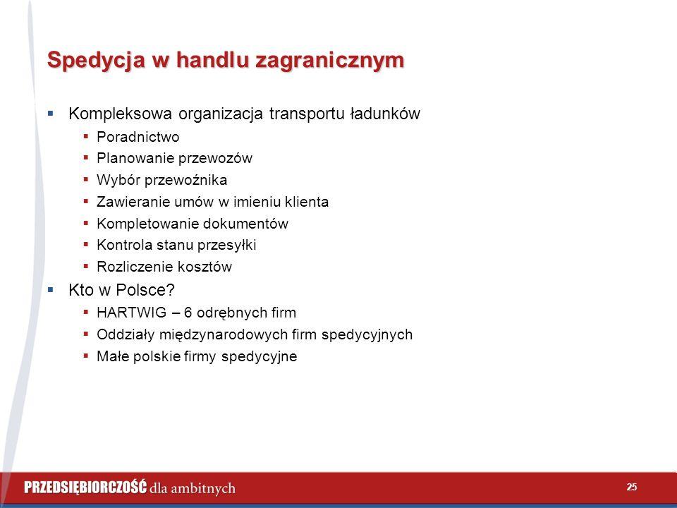 25 Spedycja w handlu zagranicznym  Kompleksowa organizacja transportu ładunków  Poradnictwo  Planowanie przewozów  Wybór przewoźnika  Zawieranie umów w imieniu klienta  Kompletowanie dokumentów  Kontrola stanu przesyłki  Rozliczenie kosztów  Kto w Polsce.