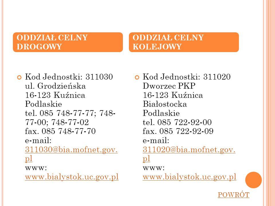 Kod Jednostki: 311030 ul. Grodzieńska 16-123 Kuźnica Podlaskie tel. 085 748-77-77; 748- 77-00; 748-77-02 fax. 085 748-77-70 e-mail: 311030@bia.mofnet.