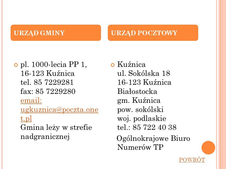 pl. 1000-lecia PP 1, 16-123 Kuźnica tel. 85 7229281 fax: 85 7229280 email: ugkuznica@poczta.one t.pl Gmina leży w strefie nadgranicznej email: ugkuzni