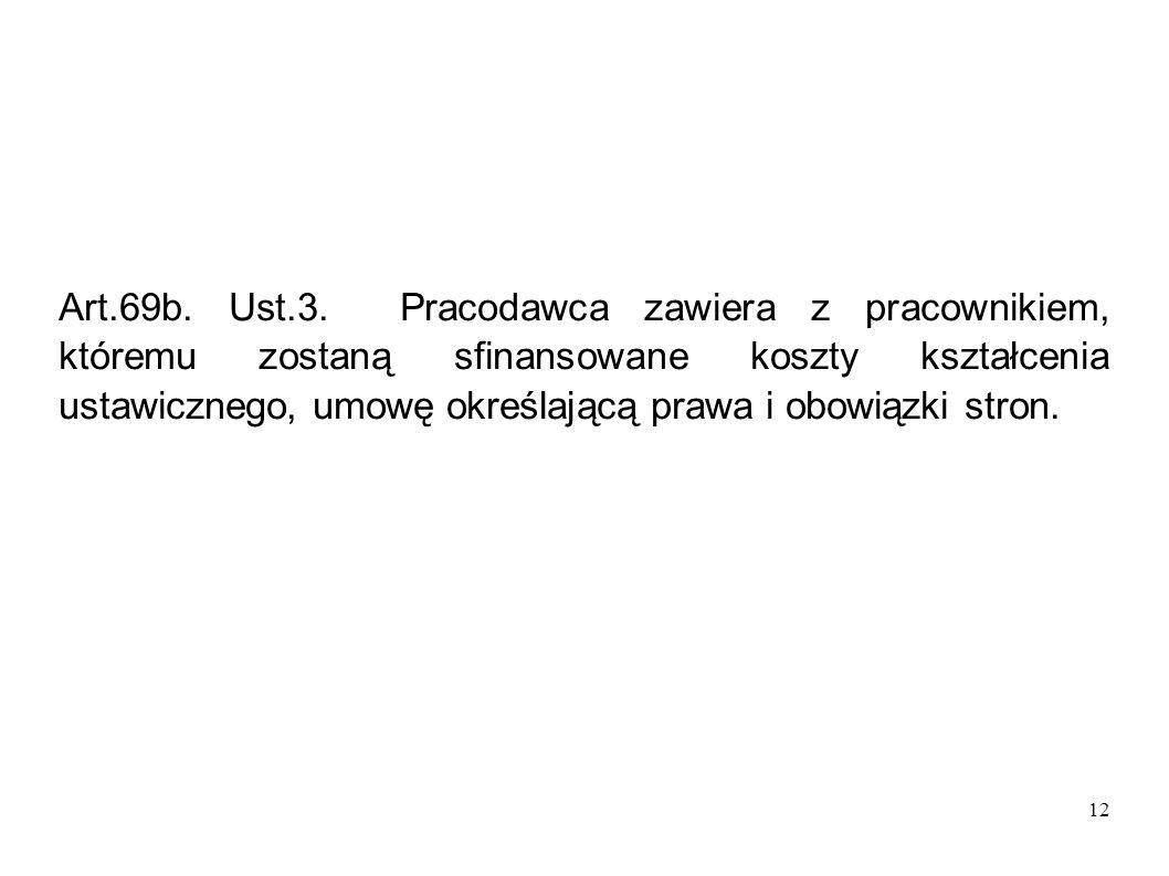 12 Art.69b. Ust.3. Pracodawca zawiera z pracownikiem, któremu zostaną sfinansowane koszty kształcenia ustawicznego, umowę określającą prawa i obowiązk