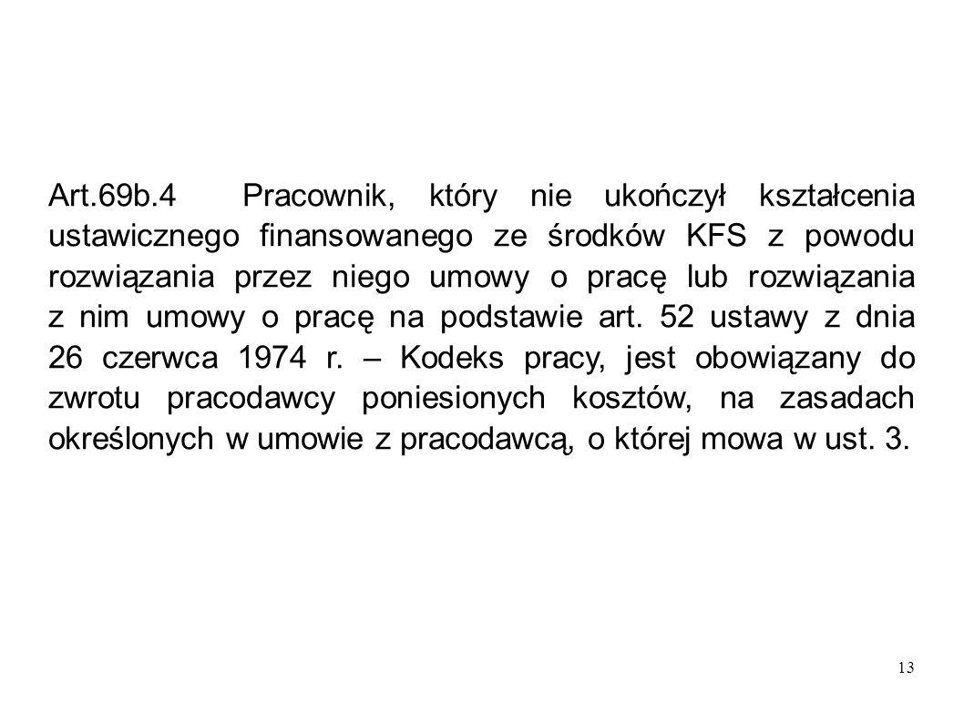 13 Art.69b.4 Pracownik, który nie ukończył kształcenia ustawicznego finansowanego ze środków KFS z powodu rozwiązania przez niego umowy o pracę lub ro