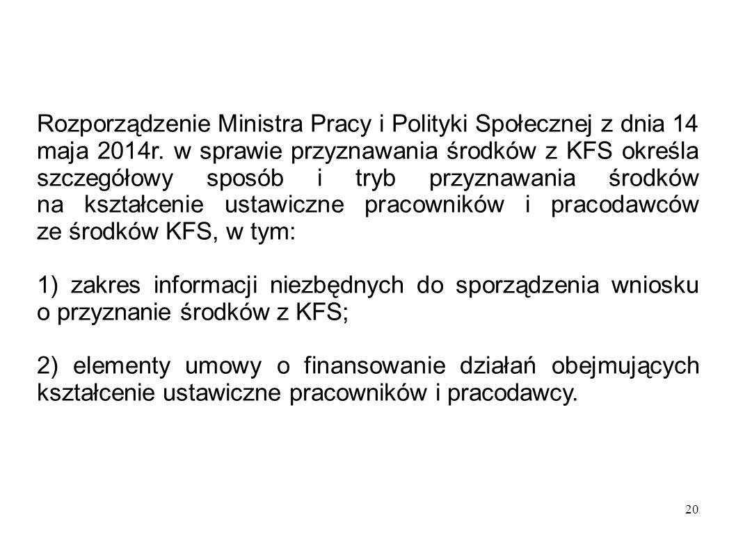 20 Rozporządzenie Ministra Pracy i Polityki Społecznej z dnia 14 maja 2014r. w sprawie przyznawania środków z KFS określa szczegółowy sposób i tryb pr