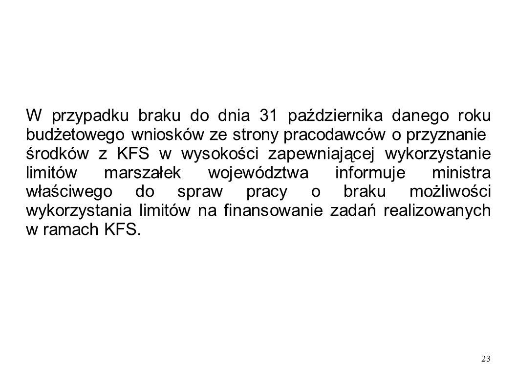 23 W przypadku braku do dnia 31 października danego roku budżetowego wniosków ze strony pracodawców o przyznanie środków z KFS w wysokości zapewniając