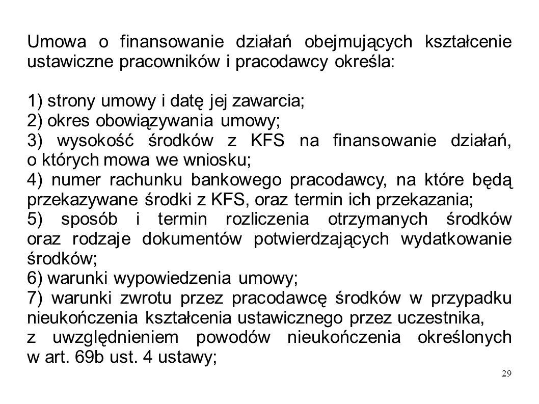 29 Umowa o finansowanie działań obejmujących kształcenie ustawiczne pracowników i pracodawcy określa: 1) strony umowy i datę jej zawarcia; 2) okres ob