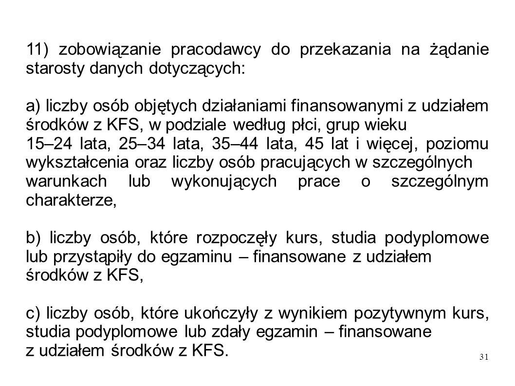 31 11) zobowiązanie pracodawcy do przekazania na żądanie starosty danych dotyczących: a) liczby osób objętych działaniami finansowanymi z udziałem śro
