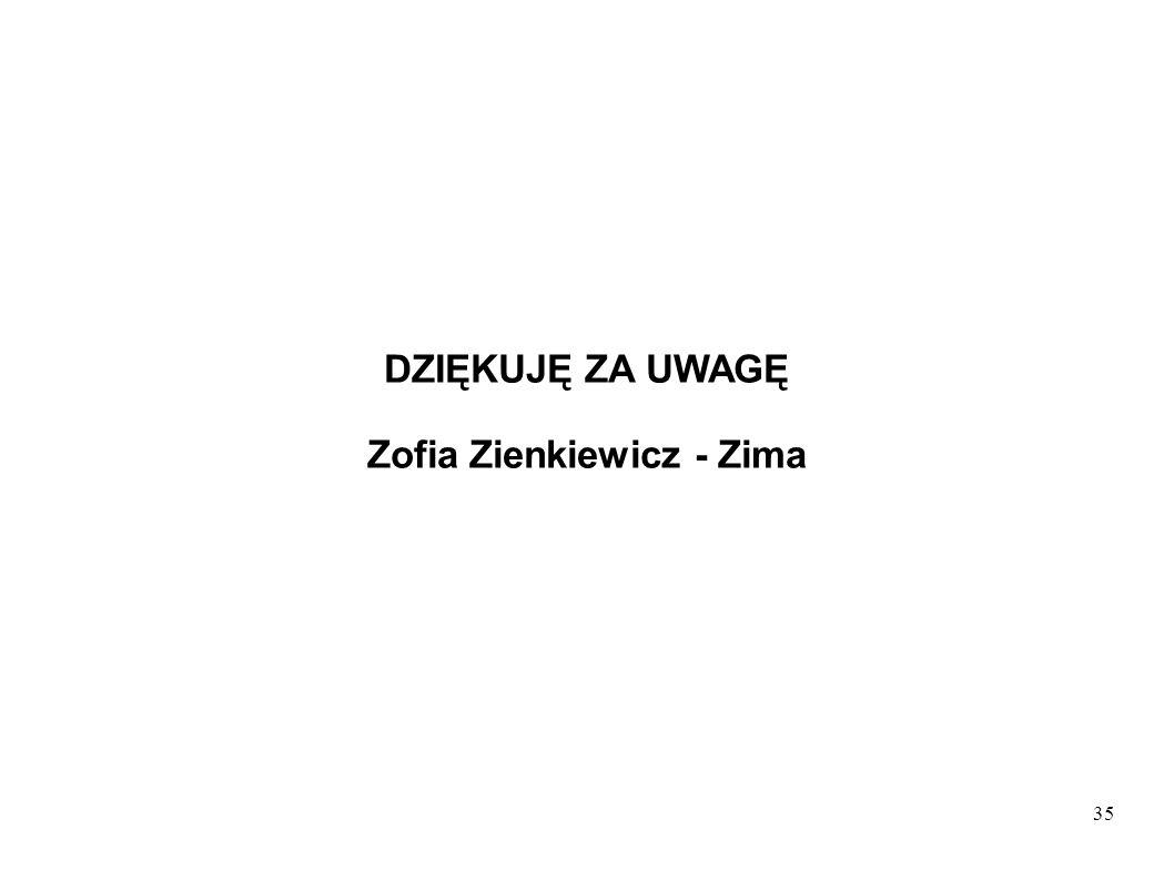 35 DZIĘKUJĘ ZA UWAGĘ Zofia Zienkiewicz - Zima