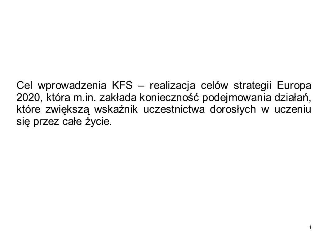 4 Cel wprowadzenia KFS – realizacja celów strategii Europa 2020, która m.in. zakłada konieczność podejmowania działań, które zwiększą wskaźnik uczestn