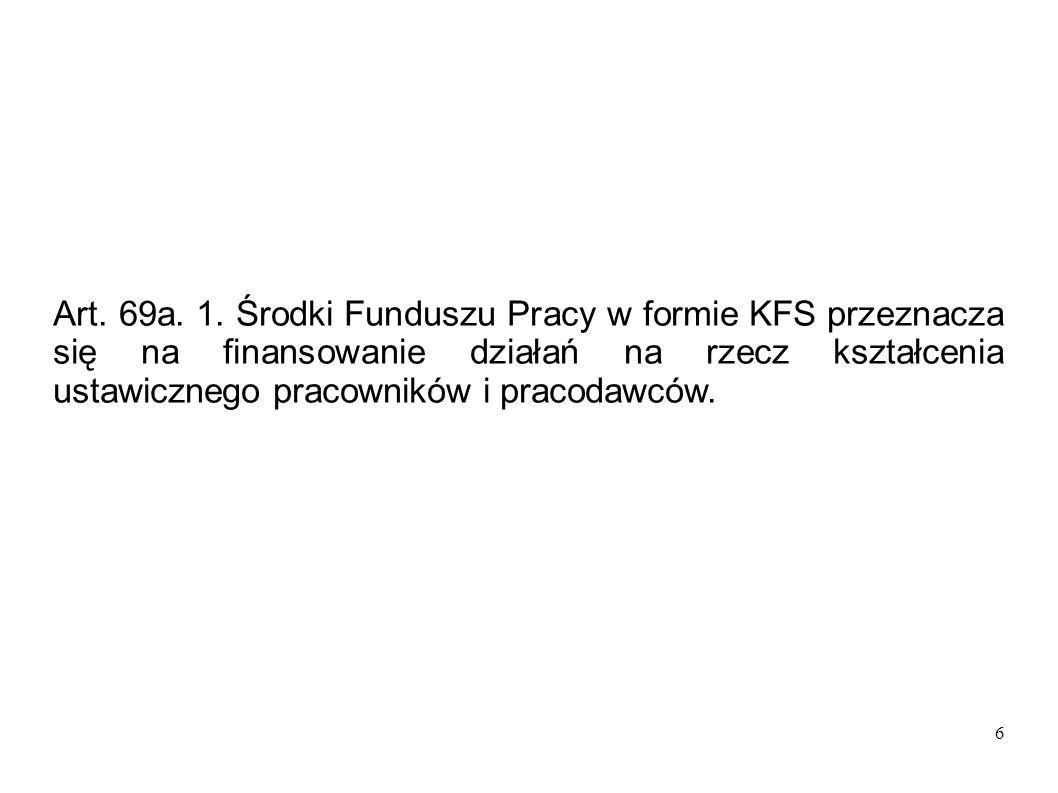 6 Art. 69a. 1. Środki Funduszu Pracy w formie KFS przeznacza się na finansowanie działań na rzecz kształcenia ustawicznego pracowników i pracodawców.
