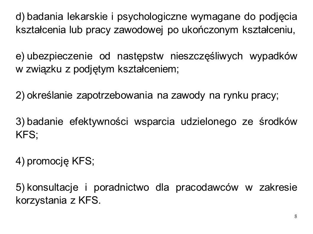 8 d)badania lekarskie i psychologiczne wymagane do podjęcia kształcenia lub pracy zawodowej po ukończonym kształceniu, e)ubezpieczenie od następstw ni