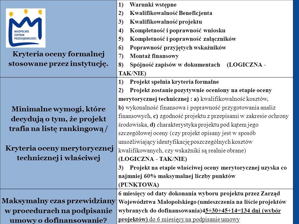 Kryteria oceny formalnej stosowane przez instytucję.