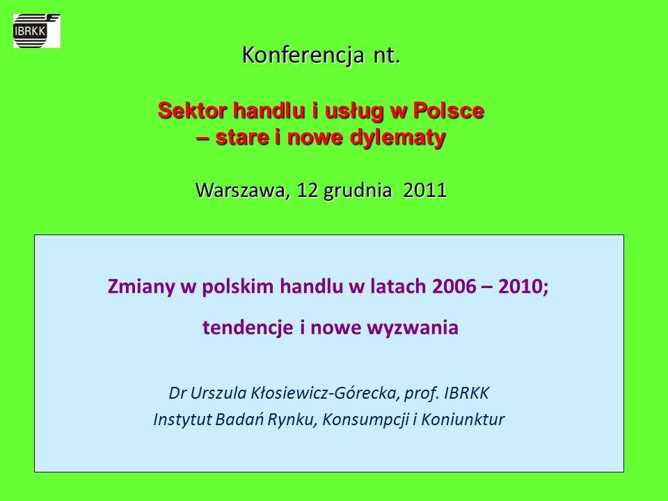 Zmiany w polskim handlu w latach 2006 – 2010; tendencje i nowe wyzwania Dr Urszula Kłosiewicz-Górecka, prof.