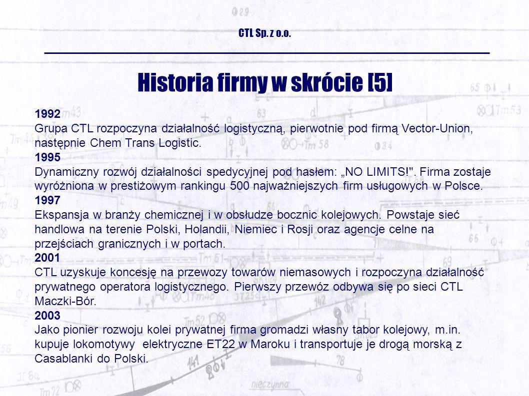 Historia firmy w skrócie [5] 1992 Grupa CTL rozpoczyna działalność logistyczną, pierwotnie pod firmą Vector-Union, następnie Chem Trans Logistic.