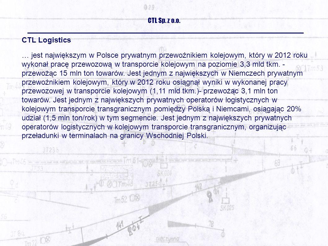 CTL Logistics … jest największym w Polsce prywatnym przewoźnikiem kolejowym, który w 2012 roku wykonał pracę przewozową w transporcie kolejowym na poziomie 3,3 mld tkm.