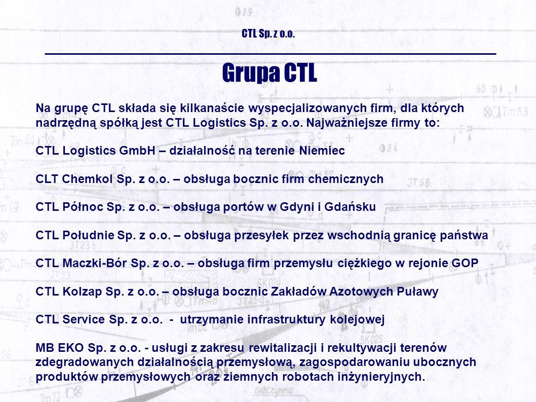 Grupa CTL Na grupę CTL składa się kilkanaście wyspecjalizowanych firm, dla których nadrzędną spółką jest CTL Logistics Sp.