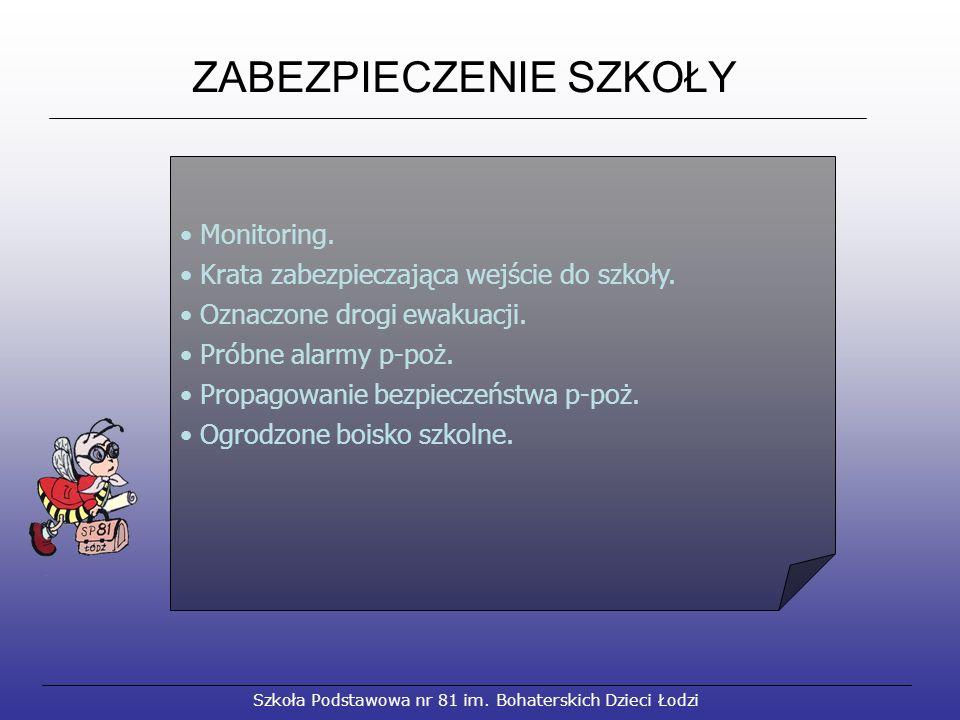 ZABEZPIECZENIE SZKOŁY Szkoła Podstawowa nr 81 im. Bohaterskich Dzieci Łodzi Monitoring.