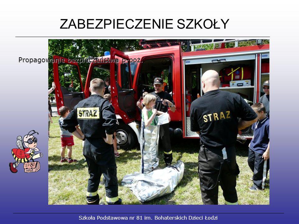 ZABEZPIECZENIE SZKOŁY Szkoła Podstawowa nr 81 im. Bohaterskich Dzieci Łodzi Propagowanie bezpieczeństwa p-poż. Propagowanie bezpieczeństwa p-poż.