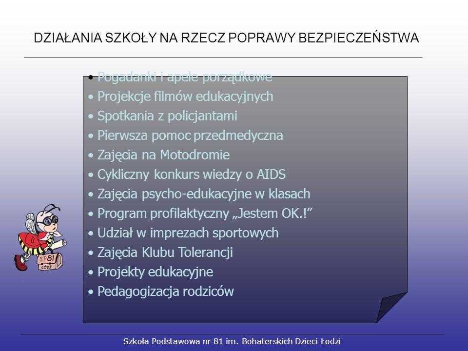 DZIAŁANIA SZKOŁY NA RZECZ POPRAWY BEZPIECZEŃSTWA Szkoła Podstawowa nr 81 im.