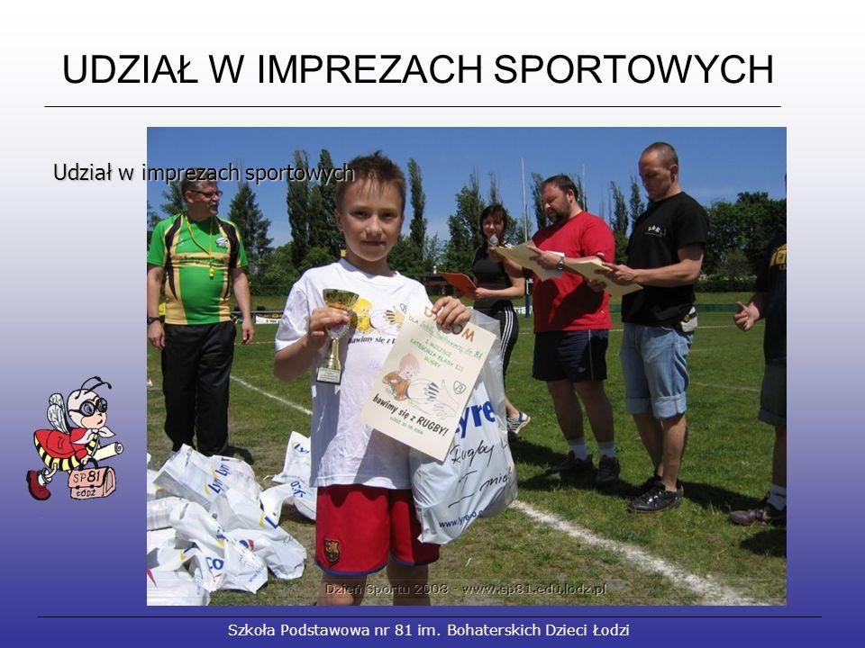 UDZIAŁ W IMPREZACH SPORTOWYCH Szkoła Podstawowa nr 81 im.