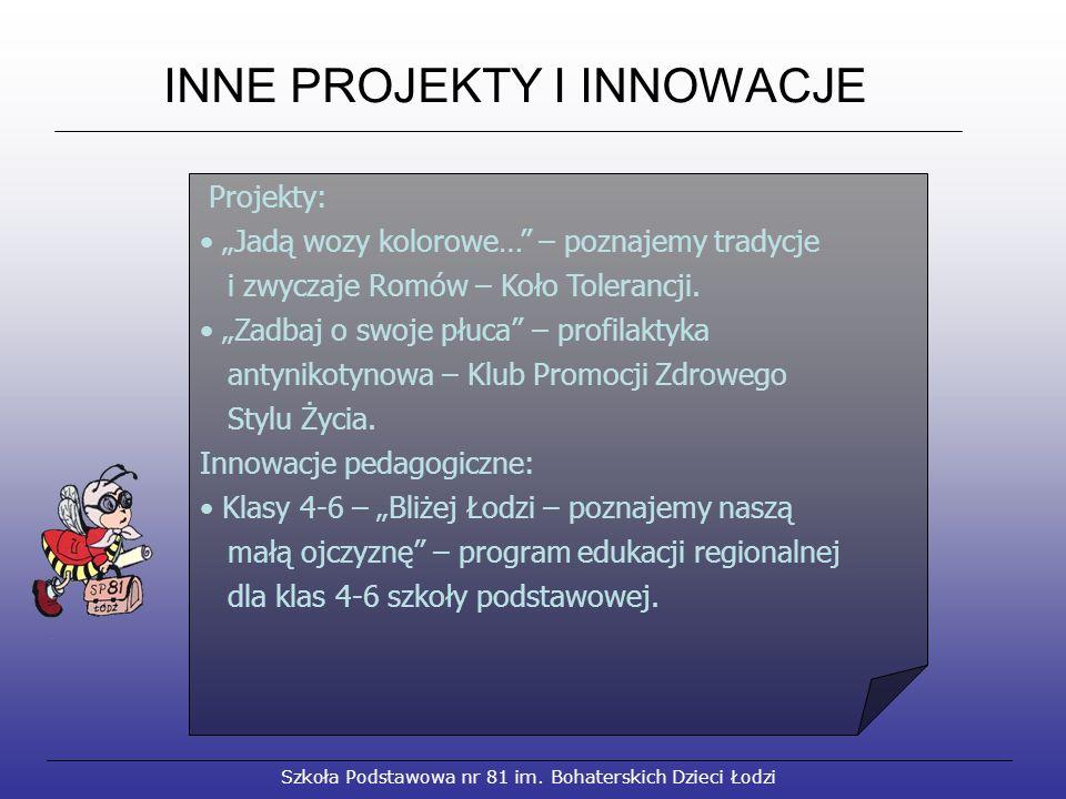 """Szkoła Podstawowa nr 81 im. Bohaterskich Dzieci Łodzi INNE PROJEKTY I INNOWACJE Projekty: """"Jadą wozy kolorowe…"""" – poznajemy tradycje i zwyczaje Romów"""